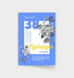 poster design with monochrome hydrangea flowers vector image