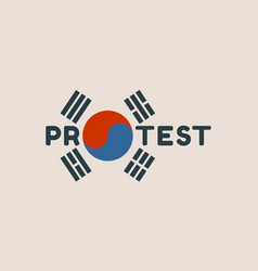 Protest word and korean flag elements vector