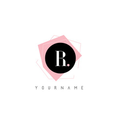 r letter pastel geometric shaped logo design vector image