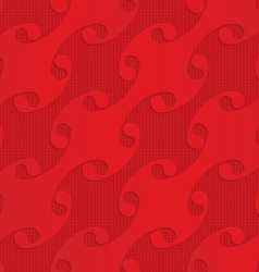 Red diagonal shells on checkered background vector image