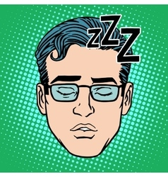 retro emoji sleeping male face vector image