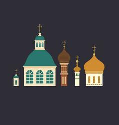 Russian ortodox church domes with crosses vector