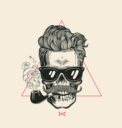 sailor cool skull smoke pipe t-shirt print vector image