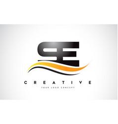 Se s e swoosh letter logo design with modern vector