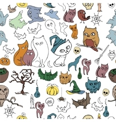 Seamless halloween pattern with different animals vector image