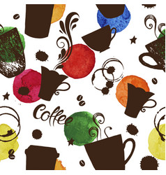 seamless pattern with cups coffee vector image