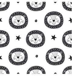 seamless pattern with lion and stars vector image