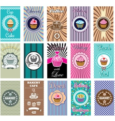 Set business cards for bakery coffee vector