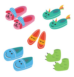 Set funny kids pajama slippers vector