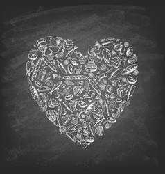 set heart-shaped food on chalk board vector image