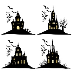 Set of halloween castle with bats black silhouette vector image