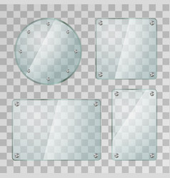 set of realistic glossy glass plates in different vector image