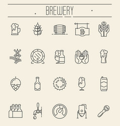 Set thin line icons beer and brewery vector