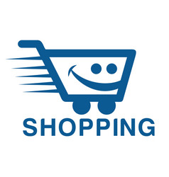 Smiling shopping cart logo design vector