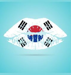 south korea flag lipstick on the lips isolated on vector image
