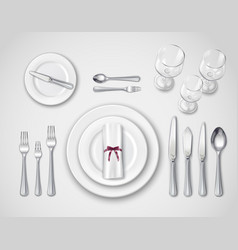 table setting realistic top view vector image