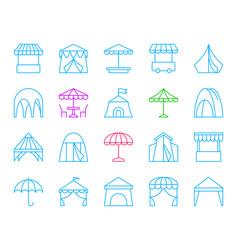 tent simple color line icons set vector image