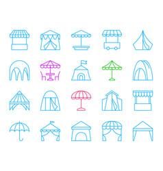 tent simple color line icons set vector image