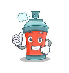Thumbs up aerosol spray can character cartoon vector