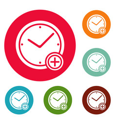 time plus icons circle set vector image