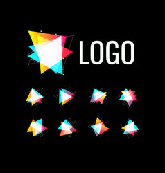triangle shape set polygonal geometric logo vector image
