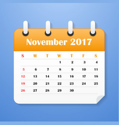 usa calendar for november 2017 vector image