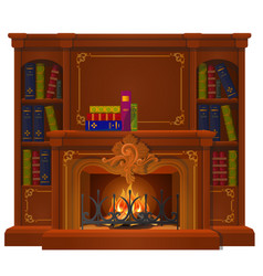Vintage books lie on mantel in style vector