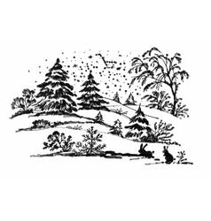 Watercolor winter coniferous forest landscape vector