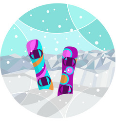winter background with mountains snowboards and vector image