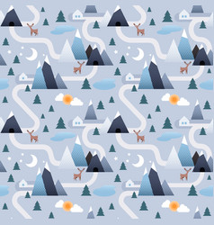 winter landscape background mountain and trees vector image
