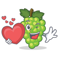 with heart green grapes mascot cartoon vector image