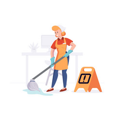 woman from cleaning company staff cleans the vector image