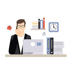 young businessman character sitting at the vector image