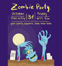 Zombie party poster with walking dead man vector