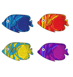 fish colorful set hand drawing vector image