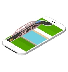 Isometric bridge with a road over the river vector image