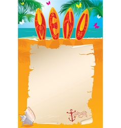 Menu Design - surf boards with hand drawn text vector image vector image