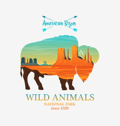 mountains and buffalo silhouette wild animal vector image