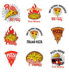 set of pizza labels design elements for vector image
