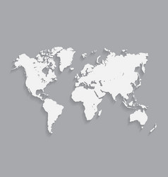 white world map with shadows vector image