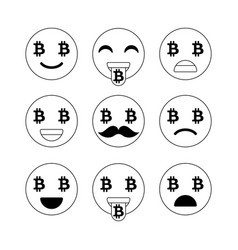 bitcoin emoji emoticons or smile emotional icons vector image