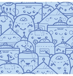 Cute doodle robots seamless pattern background vector image