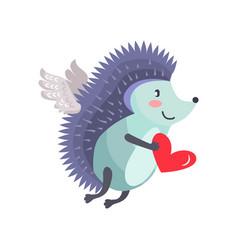 hedgehog flies on wings of love with heart in hand vector image