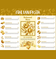 italian pasta menu template for restaurant design vector image