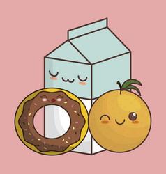 kawaii food design vector image