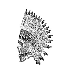 Shading scull with feathered war bannet in vector image