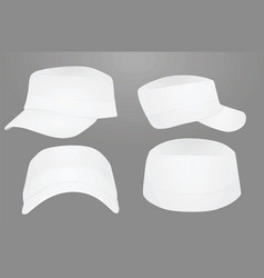 white military cap template vector image vector image