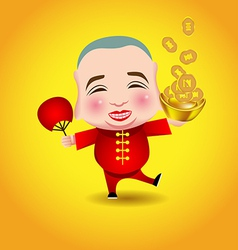 Chinese New Year man with smile mask on yellow vector image vector image