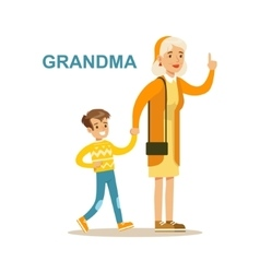 Grandma Walking With Grandson Happy Family Having vector image vector image