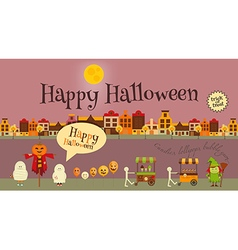 Halloween in Town - Greeting Card vector image vector image